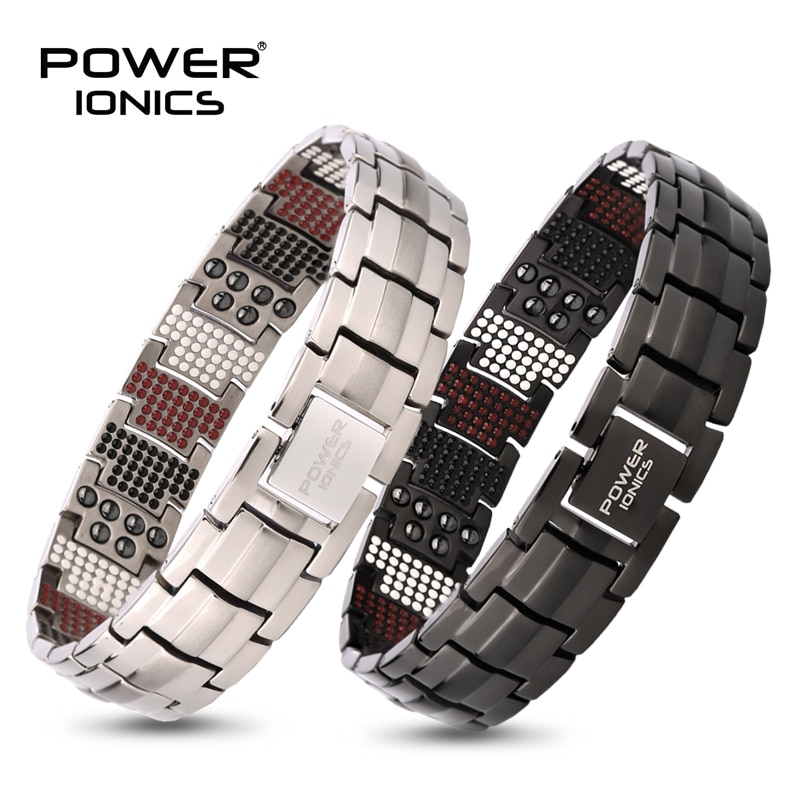 Promo Power Ionics 4in1 100% Titanium Mens Anion FIR Magnetic Germanium Blood Pressure Accessory Charm Bracelet Jewelry Gifts W/ Tool