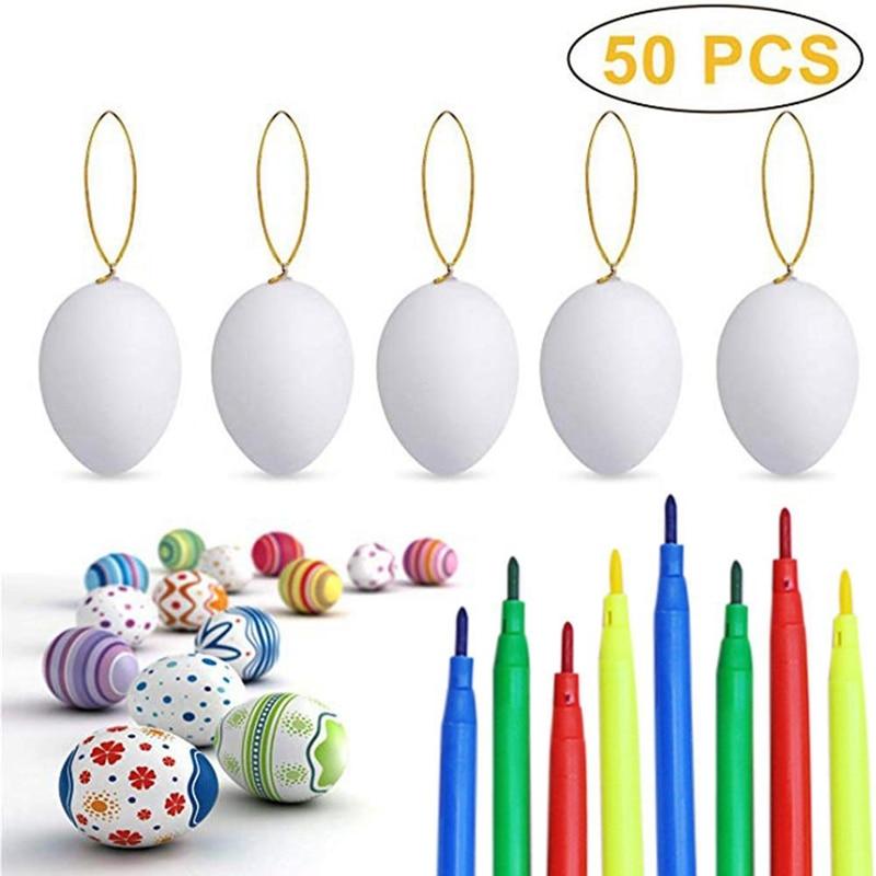 50PCS Ostern Weiß Hängen Kinder Malerei Spielzeug Doodle Eier mit Seil Künstliche Eier DIY Dekoration mit 8 Farbe Bleistifte