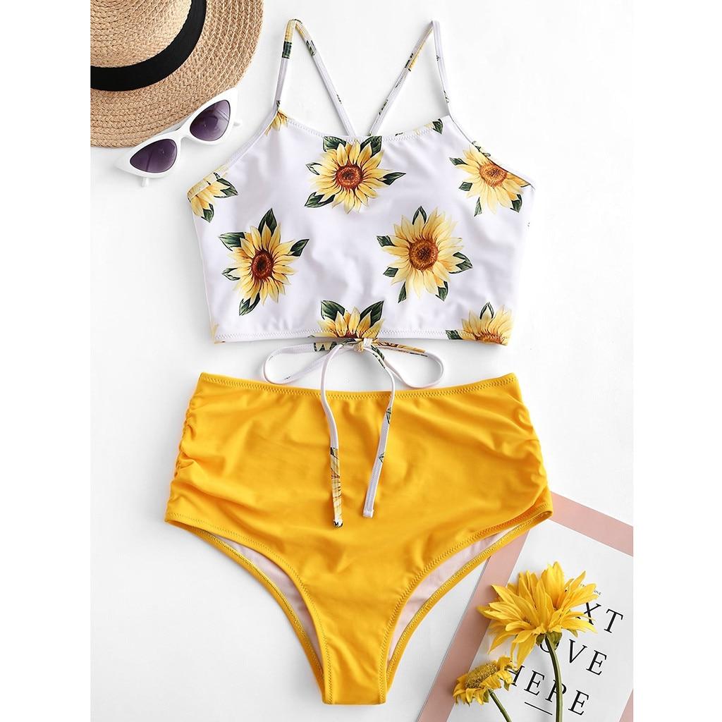 Traje de baño para mujer, 2020, Sexy Bikini amarillo con flores cortadas, traje de baño de dos piezas, Pushups, ropa de playa, Bikini ajustado, conjunto de traje de baño brasileño