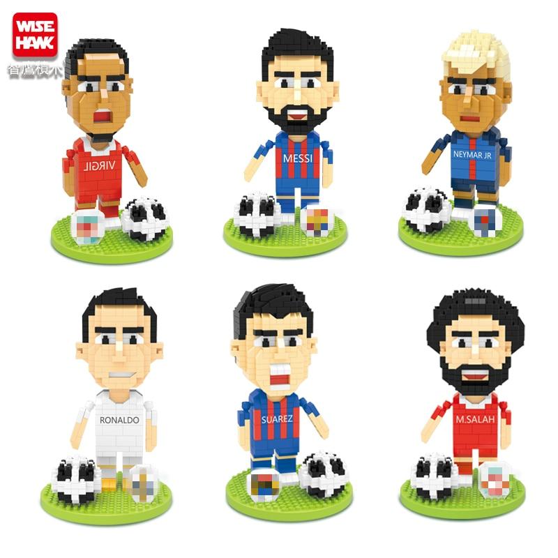 Фигурки футбольных игроков, мини-кубики, 3D модель, Мультяшные кирпичи, аниме «сделай сам», микро-строительные блоки, экшн-игрушки, подарки дл...