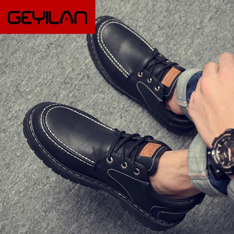 2019 casuales de los hombres zapatos de cuero de los hombres de...