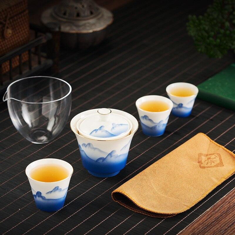بسيطة رسمت باليد السيراميك اكسبرس كأس غطاء وعاء الشاي صنع السفر طقم شاي الكونغ فو وعاء واحد يملأ ثلاثة أكواب المحمولة مجموعة صغيرة
