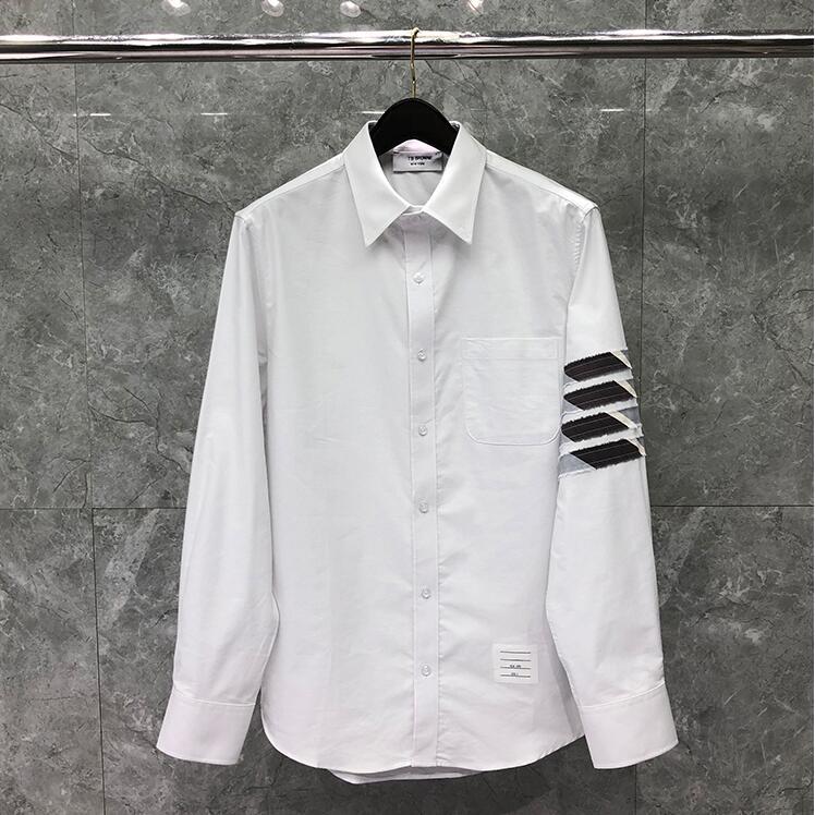 2021 Fashion  Brand Shirts Men Slim White Striped Long Sleeve Casual Shirt Turn Down Collar Oxford Solid Men's Clothing