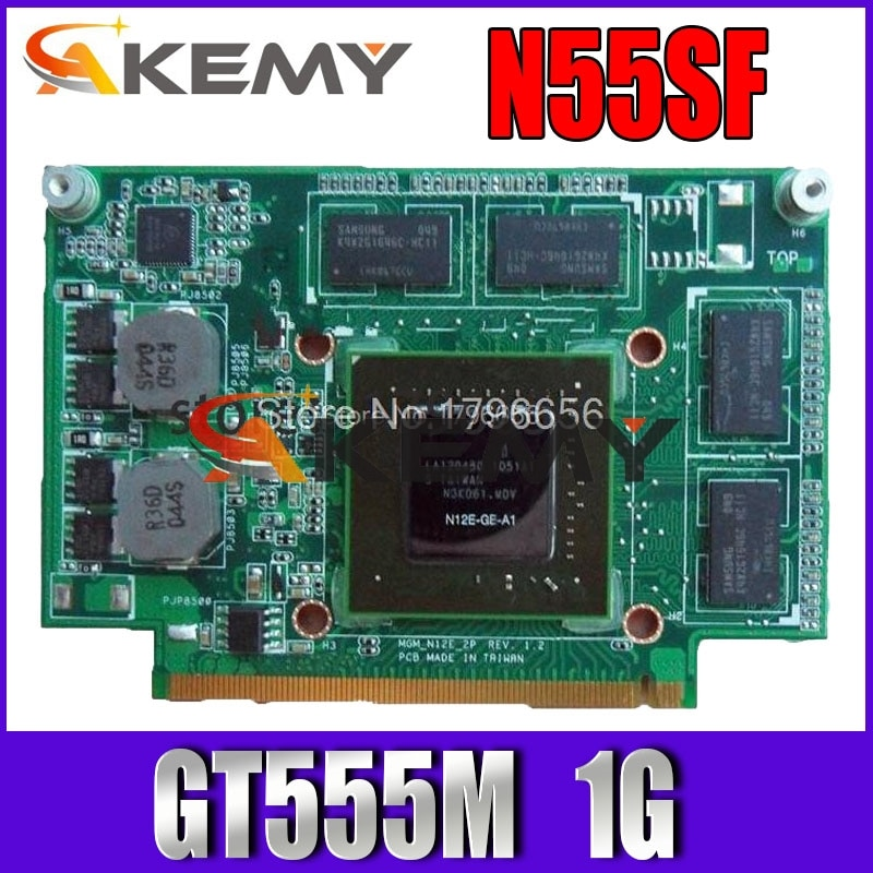 ل For Asus N75S N75SF N55SF N75SL N55SL GT 555M GT555M N12E-GE2-A1 VGA فيديو رسم بطاقة 1GB بالكامل محمول اختبار