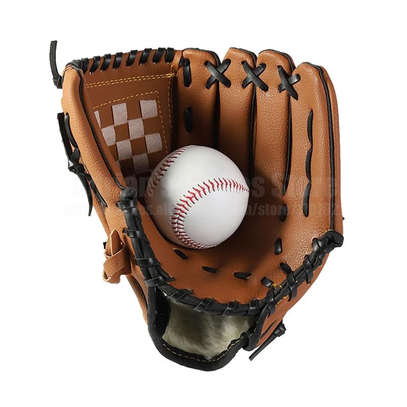 Бейсбольный набор, 1 бейсбольная перчатка и 1 мяч, ручная работа, 3 цвета, кожаные перчатки, бейсбольные рукавицы для детей/взрослых