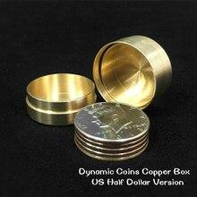 Dynamic Coins Copper Box,US Half Dollar Version Magic Tricks Gimmick Coin Vanish Magic Fly Coin Magic Close Up Street Coin Money