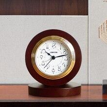 Chinois silencieux horloge De Table en bois Simple chambre moderne rond numérique Quartz réveil bureau Reloj De Mesa décor à la maison DA60ZZ