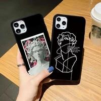 black soft phone case for iphone se 12mini 12pro 11pro max 7 8 plus xr xs max 12 11pro retro art line sculpture tpu cover
