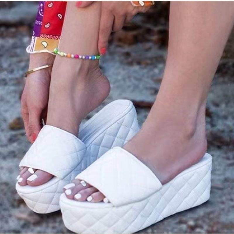 2021 Women Summer Platform Slippers High Quality Leather Thick Sole Sandals Female Platform White Slides Wedge Flip Flop
