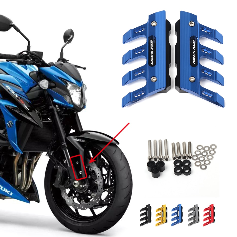 for suzuki motorcycle cnc rear license plate bracket folding with led light gsx s750 gsx s gsx 650f 750 1000 1250 1400 For Suzuki GSX-S750 GSXS750 GSX S750 S Motorcycle Front Fork Protector Fender Slider Guard Accessories GSXS 750 Mudguard