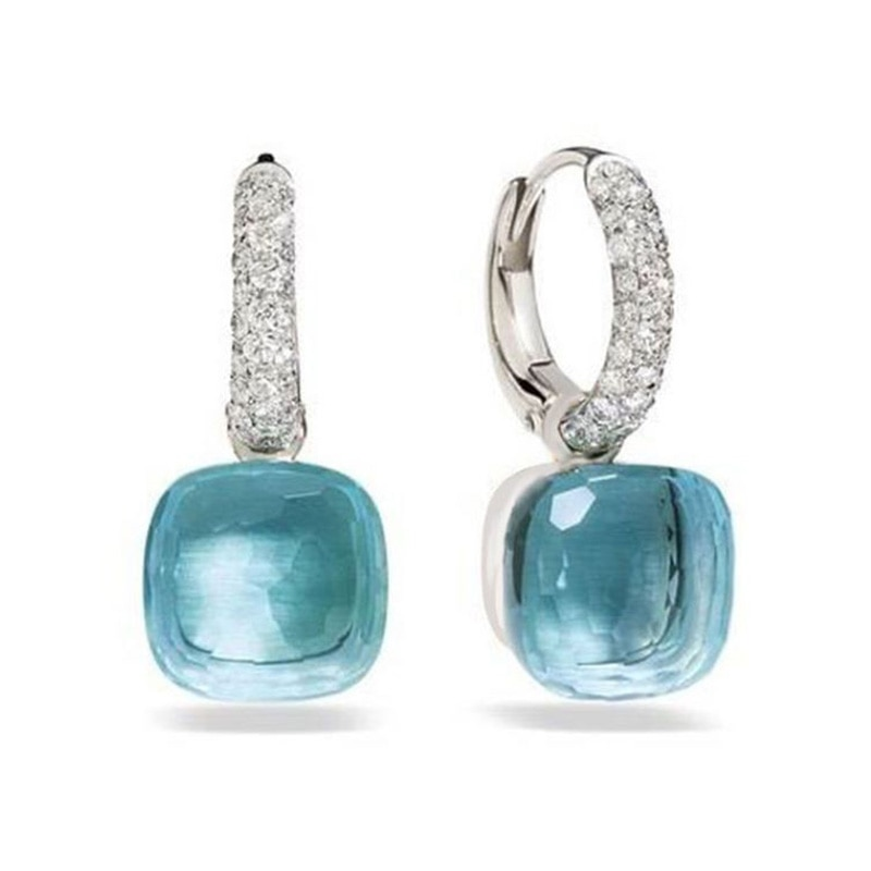 Pendientes clásicos de 23 colores de cristal con gotas de agua de caramelo, pendientes de gota de 3 colores dorados para regalo de mujer, joyería de moda (DJ1159)