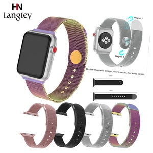 Milanese Watchband For Apple Watch5/4/3/2/1 38/40/42/44mm Straps Durable Magnetic buckle Snap button Watchbands Wholesale