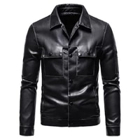 2021 autumn new high quality mens solid color multi pocket single breasted slim motorcycle long sleeve mens leather jacket