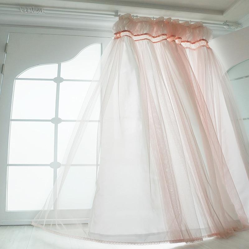 Hot Ins الأميرة الوردي الفاتح الستائر لغرفة المعيشة الكورية فانوس الستار غواز تول الفوال الأقمشة للفتيات غرفة نوم