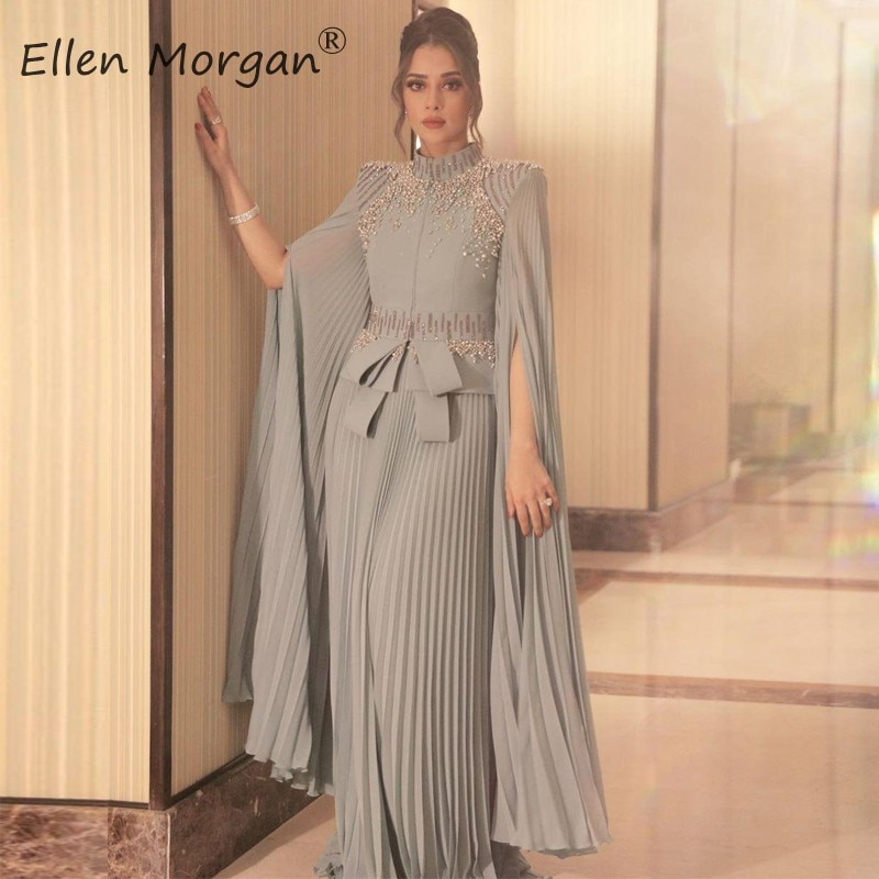 فساتين سهرة طويلة شيفون فضي عربي مسلم 2020 حفلات زفاف الخطوبة رقبة عالية فساتين رسمية ملابس نسائية