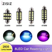 Ampoule dôme lumière de lecture   Blanc, 2835 puces, 8 2835 SMD, 31mm 36mm, voiture, intérieur de véhicule, lampe de lecture, ampoule led 12v 6500K