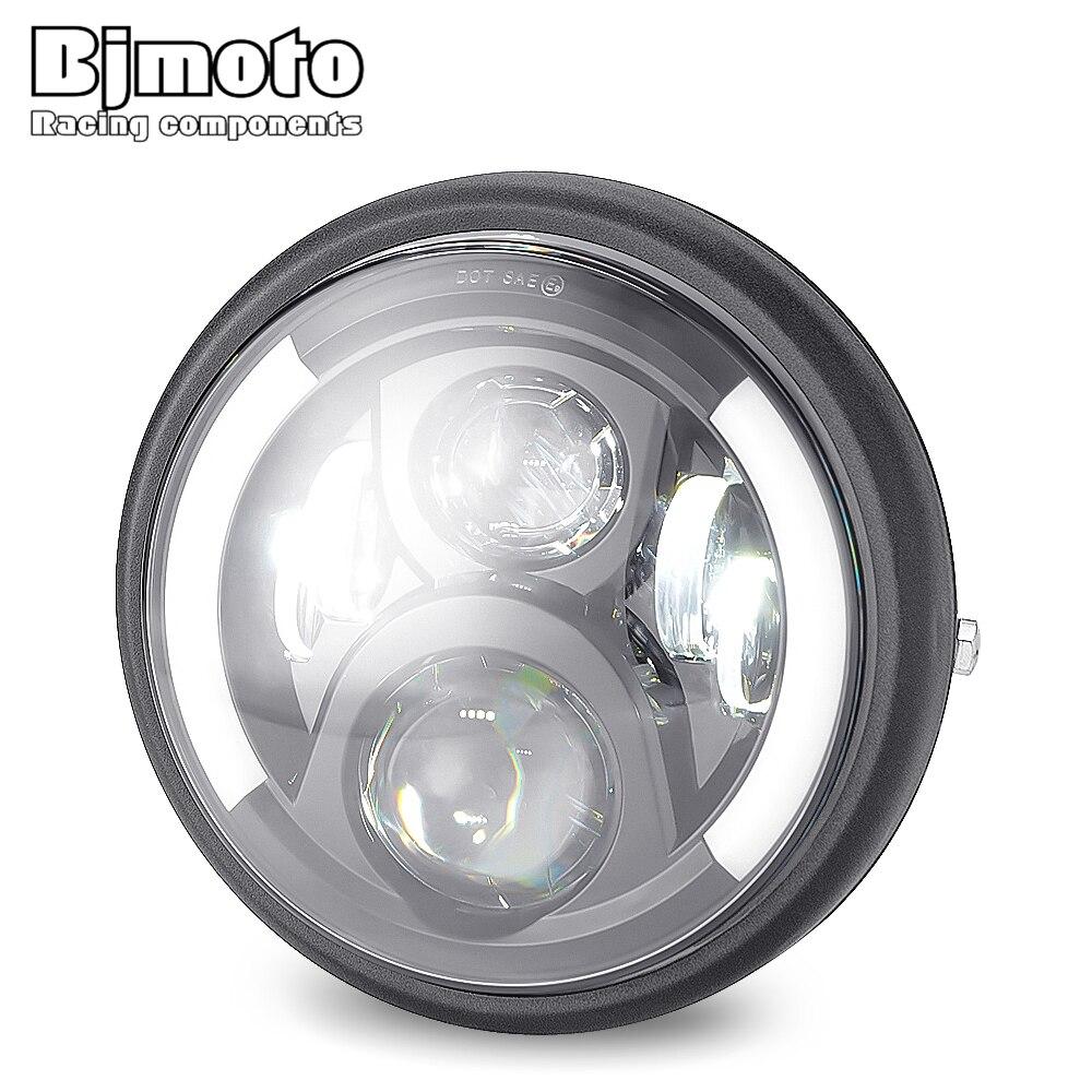 "Bjmoto 7.5"" LED Projector High Low Headlamp turn signal Light For Honda Kawasaki Yamaha Suzuki BMW  7.5 inch Headlight"