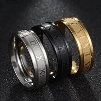 2021 hot vintage roman numerals men rings temperament fashion 6mm width stainless steel gold rings for men luxury jewelry