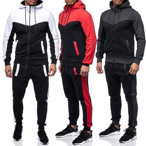 2pcs Men's Tracksuit Sports Suit Gym Fitness Patchwork Hoodie Clothes Running Jogging Sport Wear Exercise Workout Tights