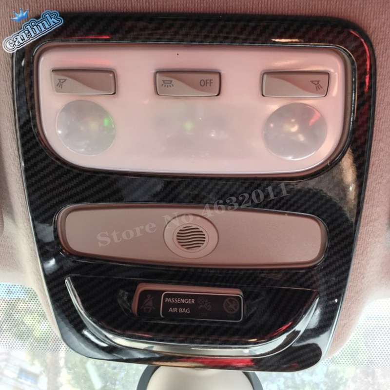 Para Renault Captur 2013-2017 ABS, cabeza de pegatina de fibra de carbono para coche, embellecedor de cubierta de lámpara de luz delantera para lectura, Captur, accesorios para coche, 1 Uds