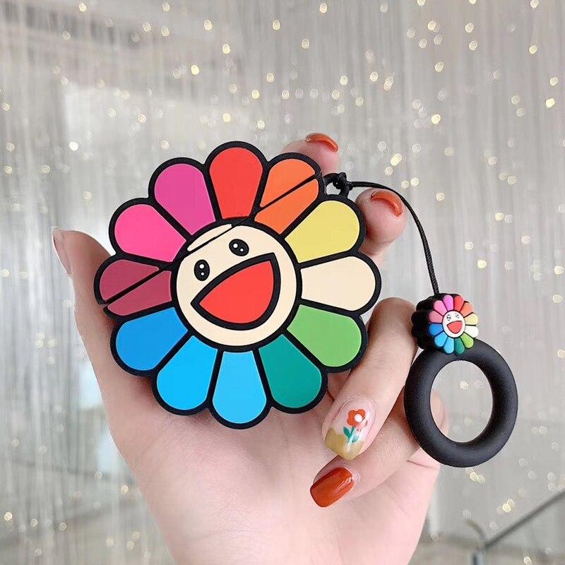Para Apple Airpods para Air Pods 2 Takashi Murakami kaipai Kiki arcoíris Flower estuches para auriculares funda de silicona Linda para auriculares