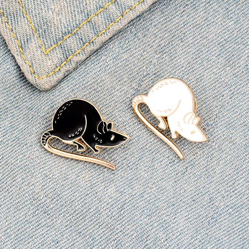 XEDZ couple black and white mouse enamel pin cute animal badge custom lapel jewelry punk clothes fashion brooch gift to friends  - buy with discount