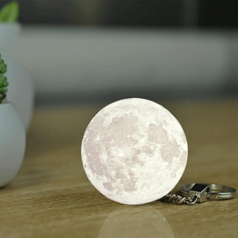 Portable Mini 3D impresión Luna luz creativa Luna noche bolso para lámpara llave decoración colgante para el hogar planeta luz nocturna llavero