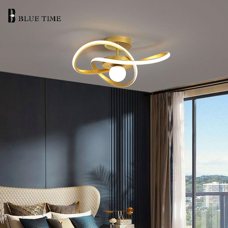 Светодиодные потолочные люстры, современные домашние светильники черного и золотого цвета для гостиной, спальни, столовой, кухни