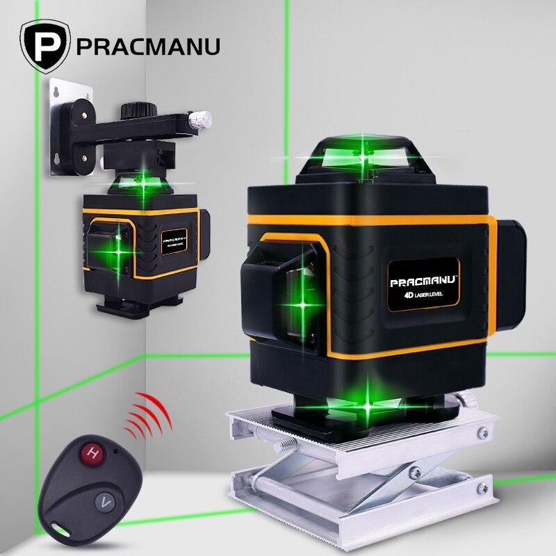 Laser verde nível 16 linhas 4d linhas transversais horizontais e verticais com auto-nivelamento, interior e uso ao ar livre