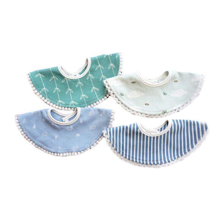 Baberos de algodón para bebés recién nacidos paño de eructo redondo suave para niñas bonito estampado Laciness alimentación accesorios para niños Scraf