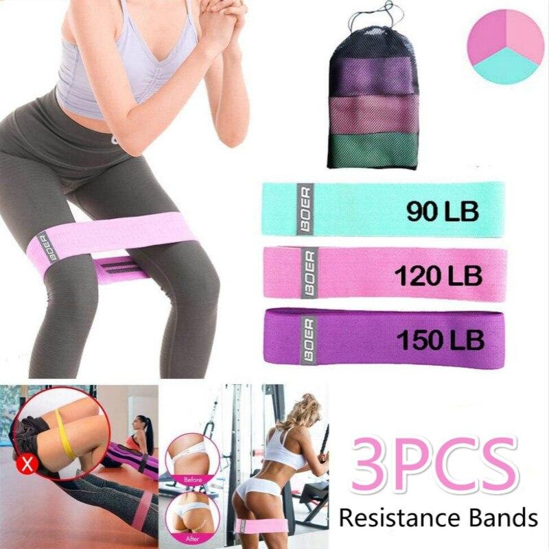 Conjunto de bandas para bumbum, 3 peças de faixas elásticas para ginástica e yoga, antiderrapante, malha de quadril, agachamento, cola pernas de bunda