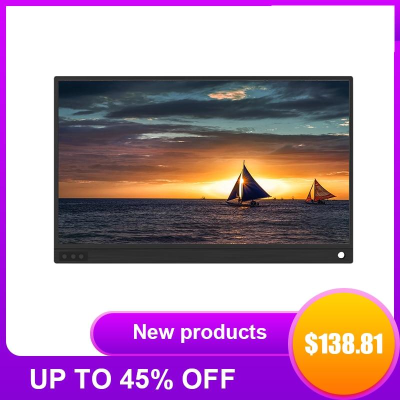 شاشة IPS محمولة فائقة النحافة مقاس 15.6 بوصة بدقة 1920 × 1080 بكسل ، ومنفذ USB من النوع C ، وشاشة عالية الدقة ، ومتوافقة مع HDMI