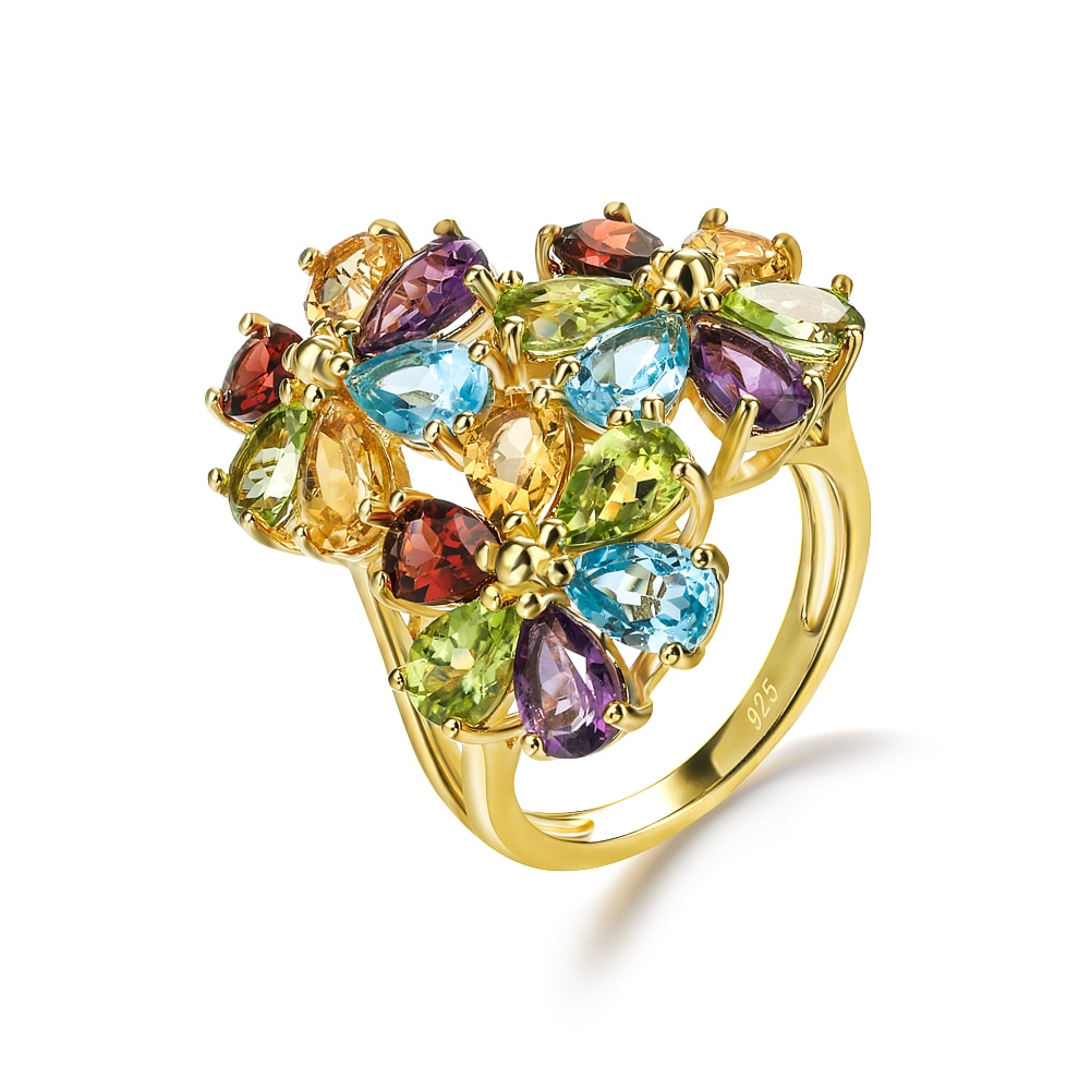 GZ ZONGFA عالية الجودة الطبيعية الزبرجد متعدد الألوان مجوهرات الأحجار الكريمة 925 فضة مكتنزة فنجر المرأة الدائري