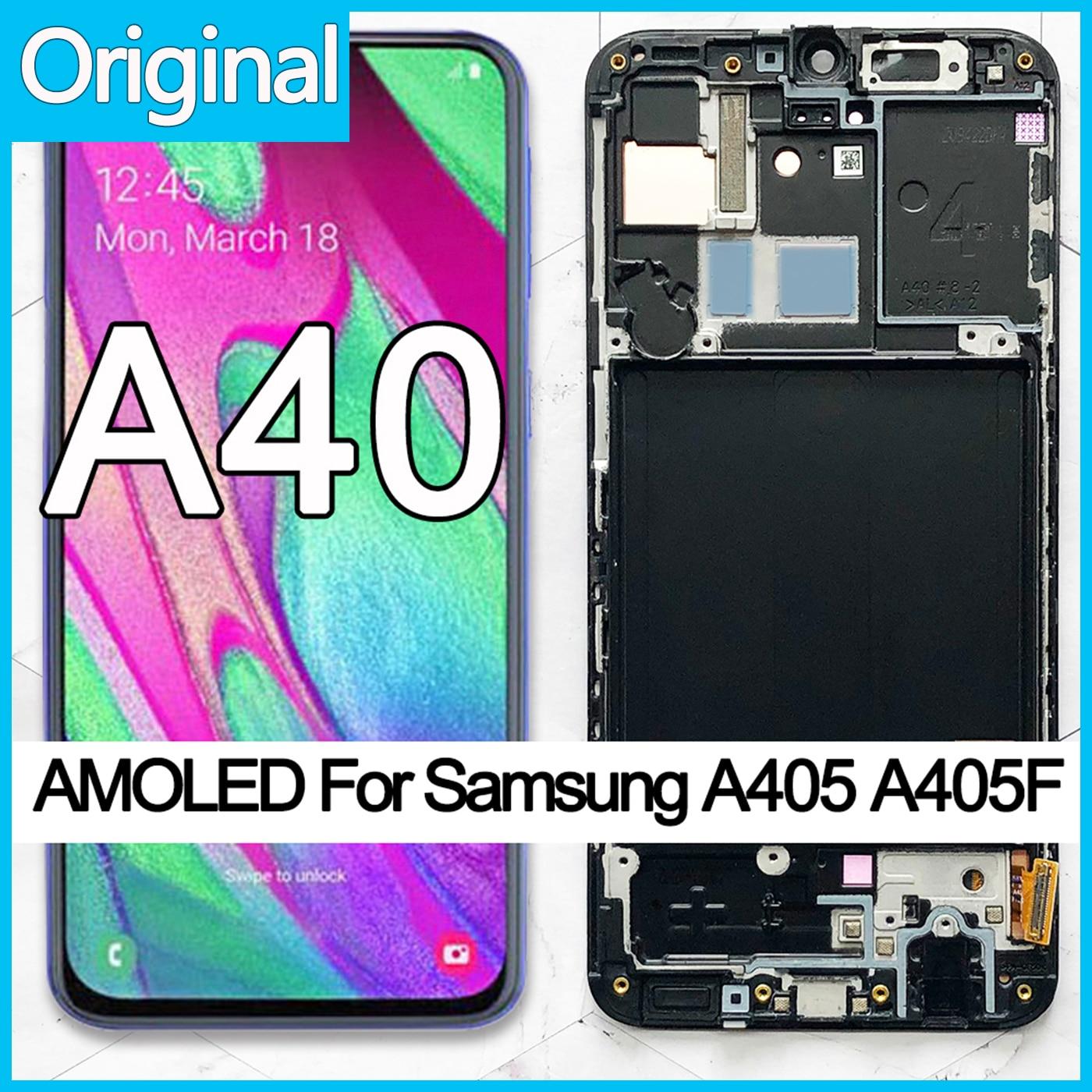 Дисплей AMOLED с сенсорным экраном и дигитайзером в сборе, для Samsung A40 LCD 100% A405, с рамкой, замена и ремонт OEM, 2019