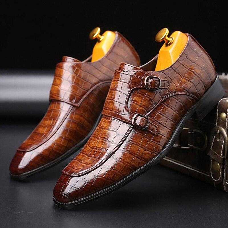 Merkmak, zapatos formales de cuero de marca para hombre, zapatos estilo oxford para vestir, zapatos Retro de moda, calzado elegante con punta estrecha para trabajar, triangulación de envíos