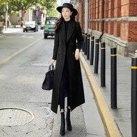 2021 popular autumn and winter black wool long coat womens super long slim temperament over knee wool coat hepburn style