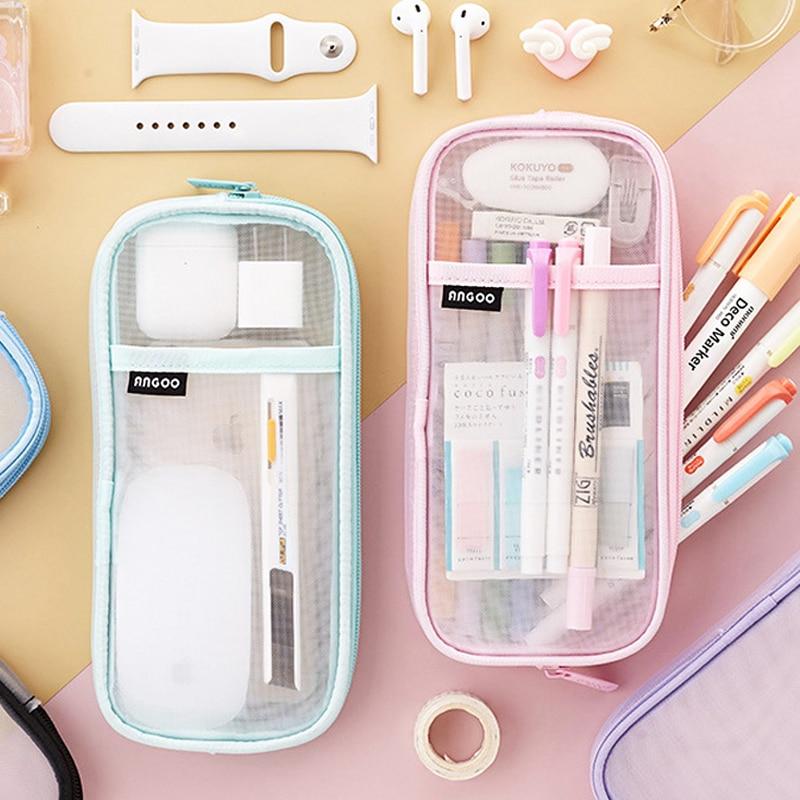 Прозрачный школьный чехол для карандашей для студентов, цветная сумка для ручек, вместительный чехол для карандашей, милый чехол для хранен... чехол