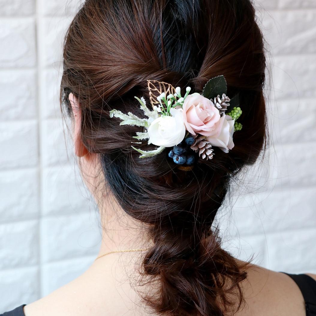 Versión coreana de la sen xi tocado cha shu tela hecha a mano flores de simulación de pelo de novia Dama de Honor de boda de playa
