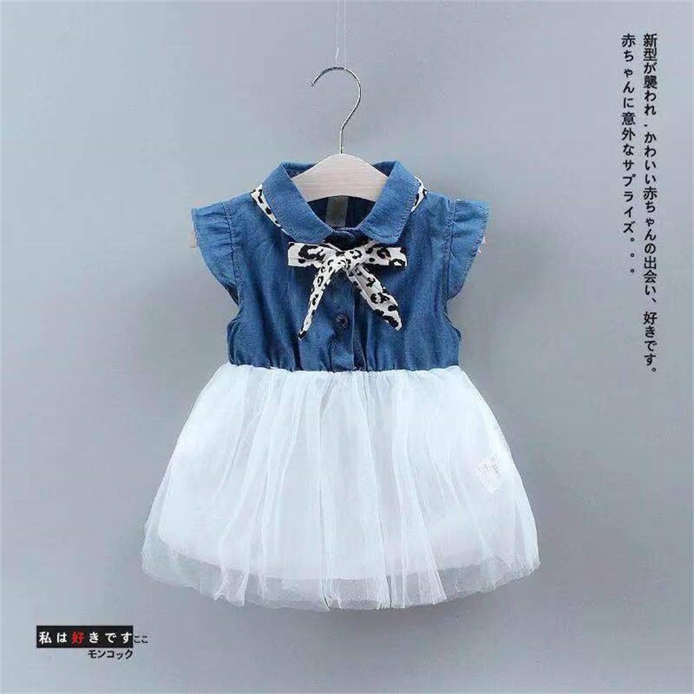 Vestido de niña 2020 niños pequeños bebé niña Denim de tul manga cortas fiesta Casual princesa tutú vestido