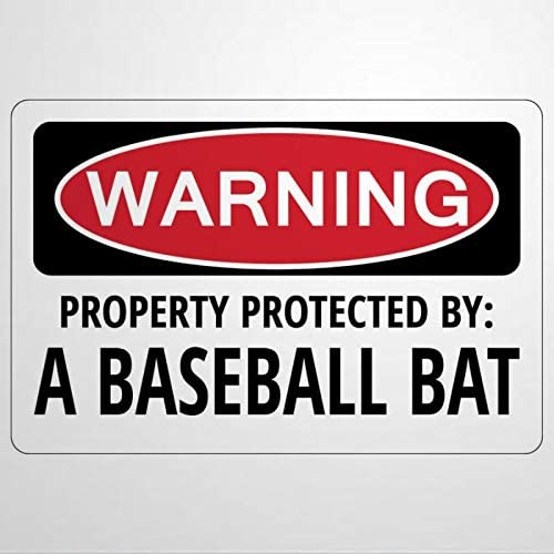 Собственность защищены Бейсбол летучей мыши Предупреждение Смешные новинки знак Настоящее Предупреждение знаки металлический знак