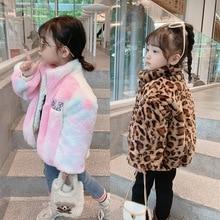 Kids Baby Toddler Girls Fleece Fur Coat Rainbow Leopard Artificial fur thickening children Winter Ja