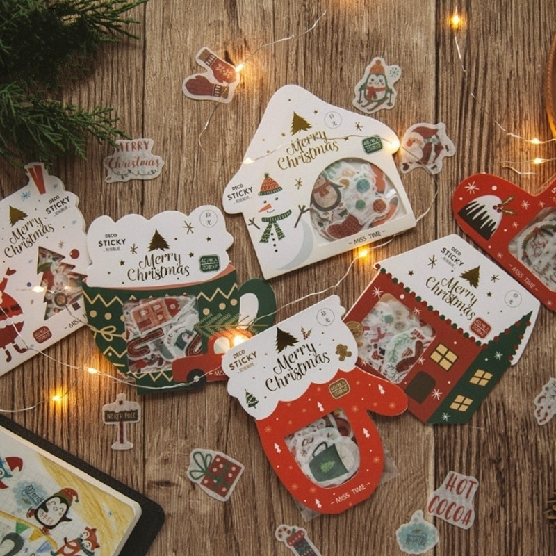 40 pçs/saco série de natal adesivo pacote manual álbum diy vida decorativa adesivos scrapbooking etiqueta papelaria