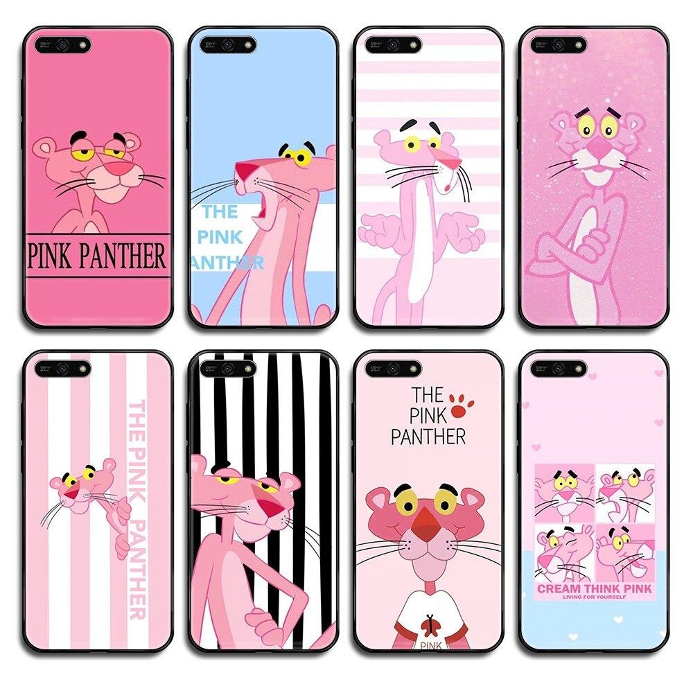 Pantera cor de rosa Dos Desenhos Animados Bonito 3D arte à prova d água preto shell caixa Do Telefone Para Huawei Honra Companheiro 5 6 7 8 9 10 20 30 UM C X Lite Pro