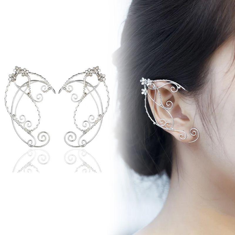 Elf Ear Cuffs Clip-on Earrings Wing Tassel Filigree Fairy Wrap Earrings Elven Cosplay Fantasy Costume