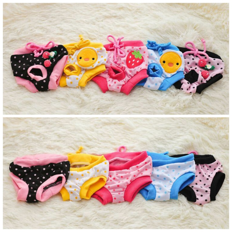 1PC Dog Physiological Pants Cute Strawberry Print Diaper Sanitary Dog Shorts Panties For Small Mediu