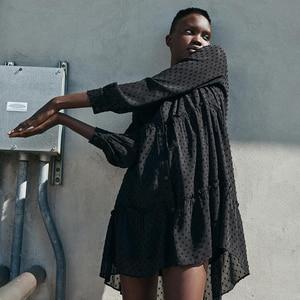 Uniera 2021 Za women's autumn new embroidery button decoration fashion trend vertical lace loose Tulle women's dress