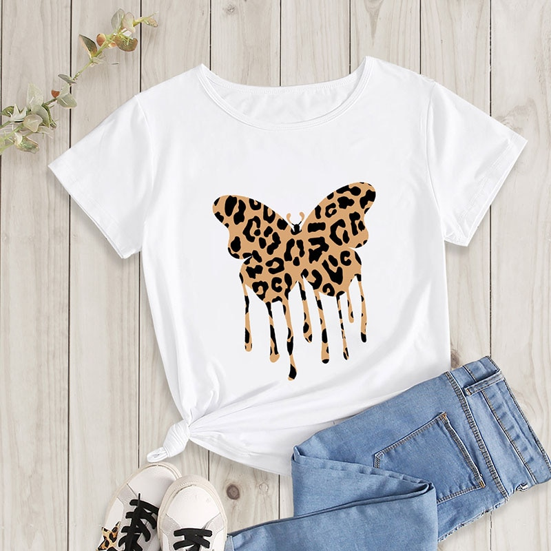 Camiseta de manga corta para mujer, camisa femenina con estampado de borboleta...