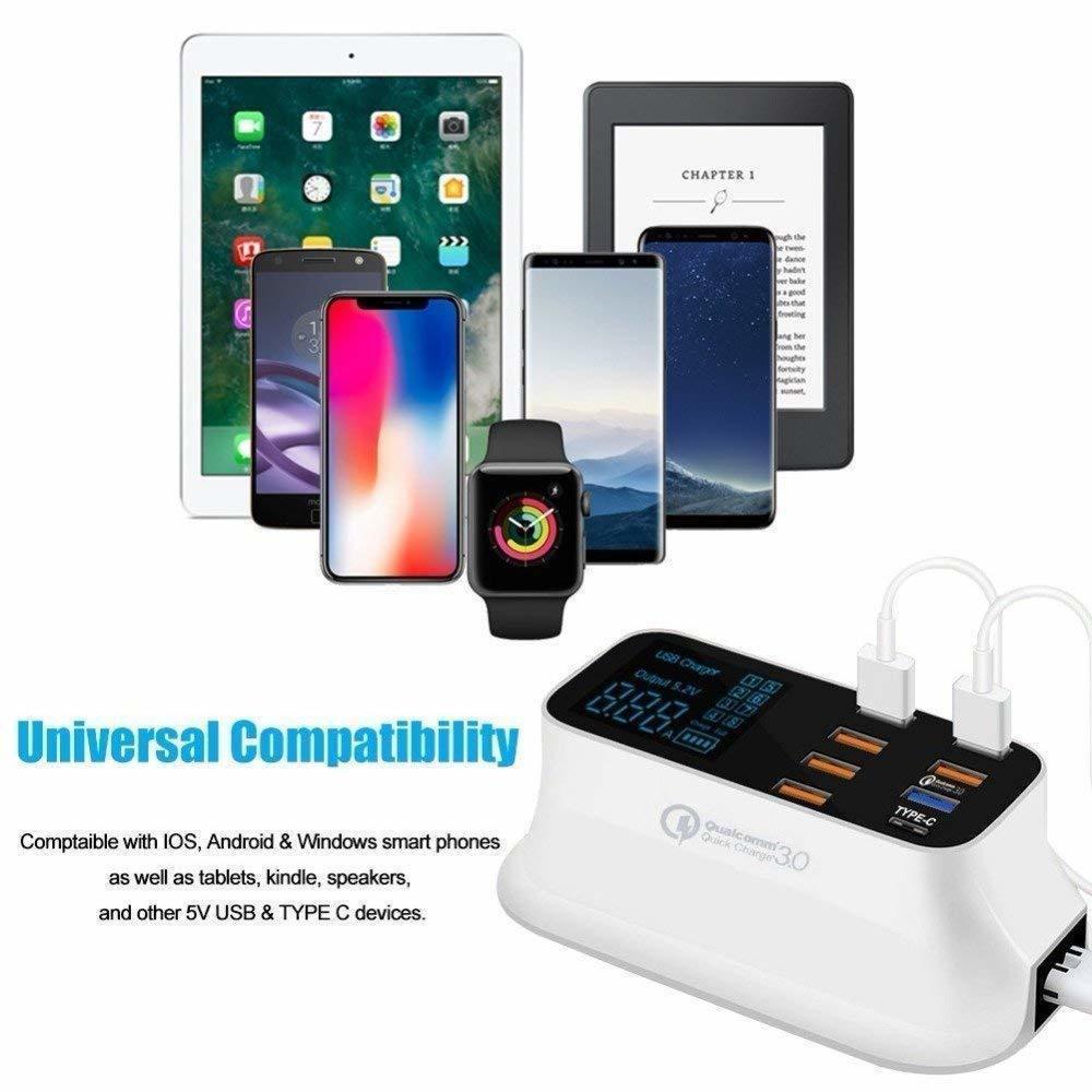 مناسبة للكمبيوتر اللوحي هاتف ذكي 8-منفذ شاحن مع شاشة LCD QC3.0 الهاتف المحمول شحن سريع USB المحمولة شاحن الطاقة