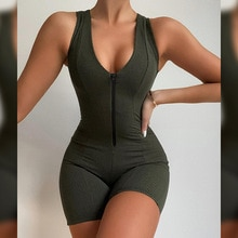 Women Ribbed Sexy Romper Jumpsuit Sleeveless V Neck Zipper Mini Playsuits Female Sexy Skinny Stretch