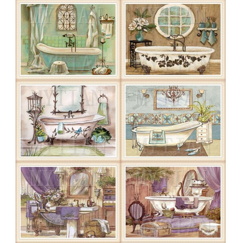 Pintura de diamantes Diy para baño 5d, mosaico cuadrado de diamantes, Kit de punto de cruz, pintura de diamantes para bañera, patrón completo de bordado de diamantes